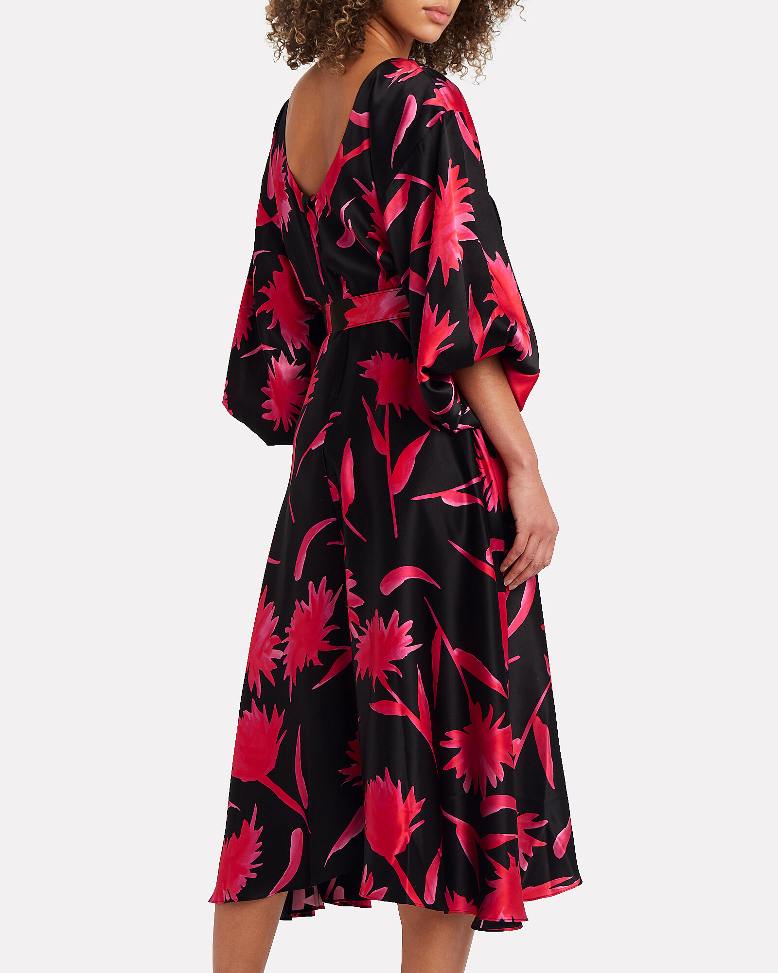 Kim Floral Silk Dress, BLACK FLORAL, hi-res