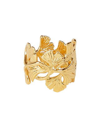 Tangerine Ginkgo Leaf Ring, GOLD, hi-res
