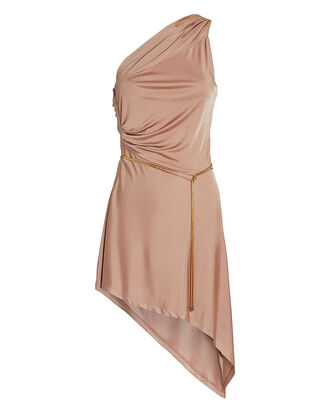 Mellie One-Shoulder Asymmetrical Mini Dress, BLUSH, hi-res