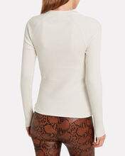 Ribbed Tie Waist Crewneck Sweater, CREAM, hi-res