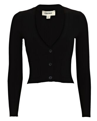 Jamie Cropped Rib Knit Cardigan, BLACK, hi-res