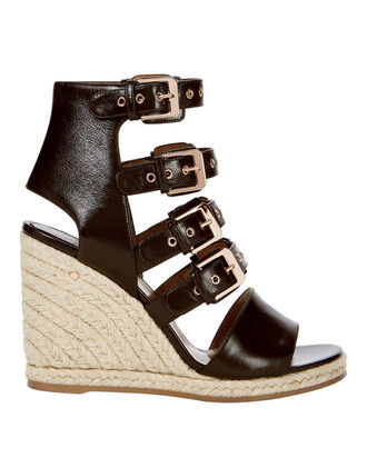 Rosario Buckled Wedge Espadrilles, BLACK, hi-res