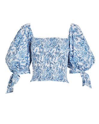Finley Paisley Puff Sleeve Top, MULTI, hi-res