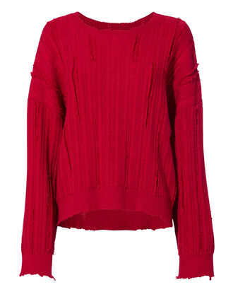Emmet Distressed Cherry Red Sweater, RED-DRK, hi-res