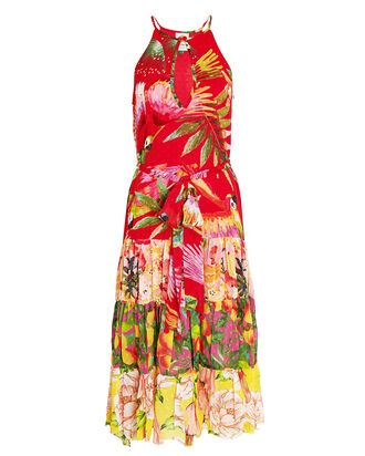 Macaw Mix Print Midi Dress, MULTI, hi-res