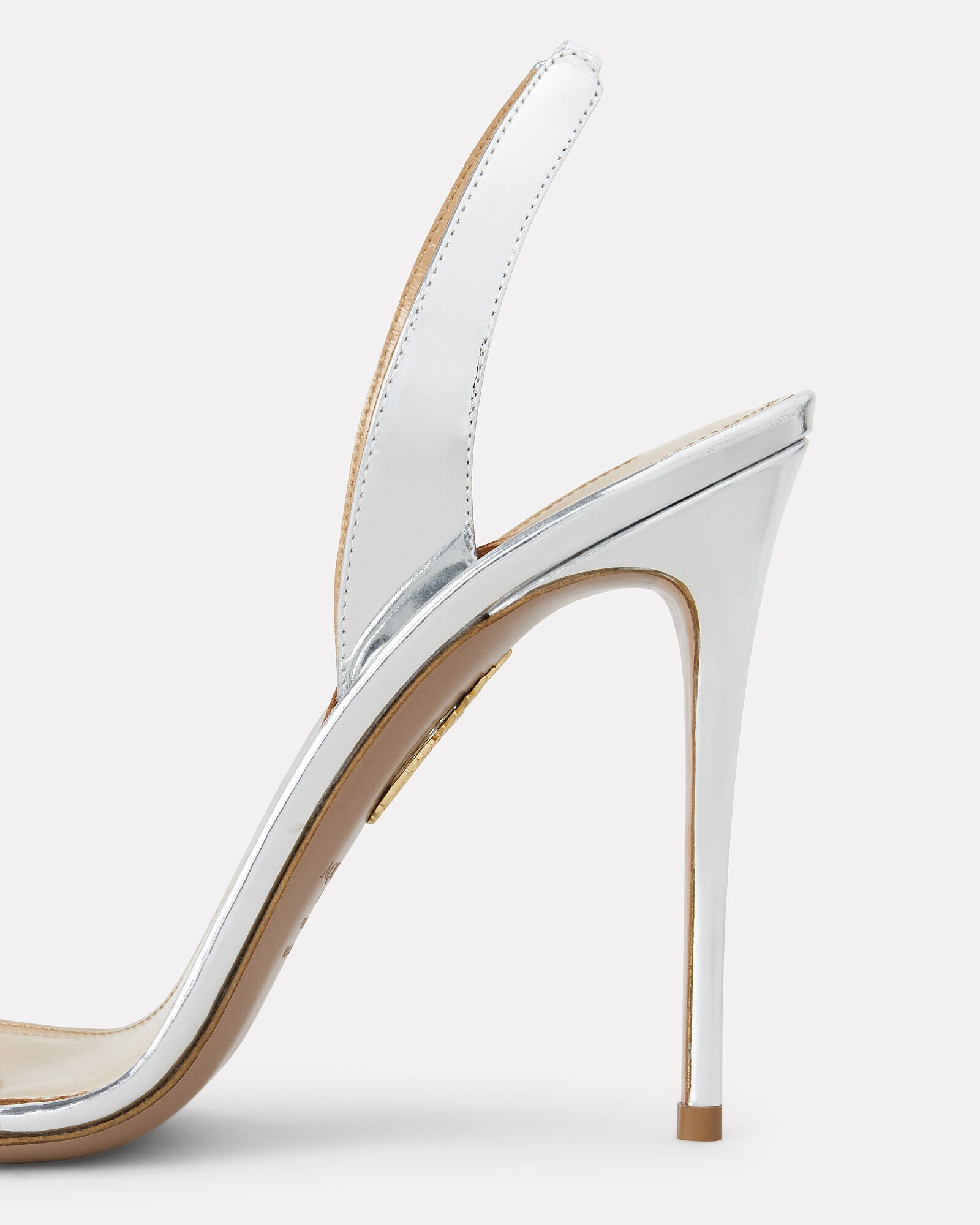 So Nude Silver Leather Slingback Sandals, SILVER, hi-res