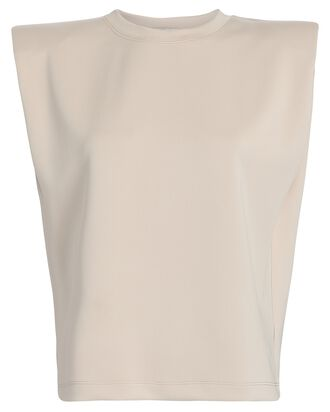 Padded Shoulder Muscle T-Shirt, BEIGE, hi-res