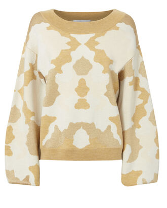 Camo Balloon Sleeve Sweater, PAT-TREND, hi-res