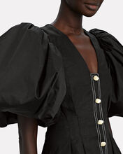 Quietude Puff Sleeve Linen Dress, BLACK, hi-res