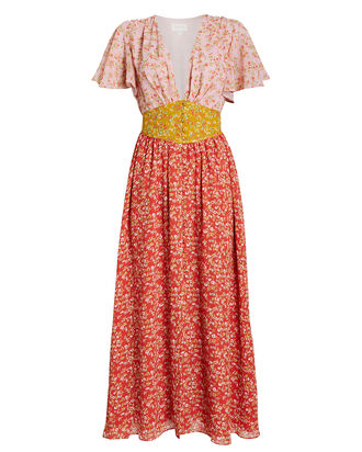 Ditsy Floral Chiffon Dress, PINK/RED/FLORAL, hi-res