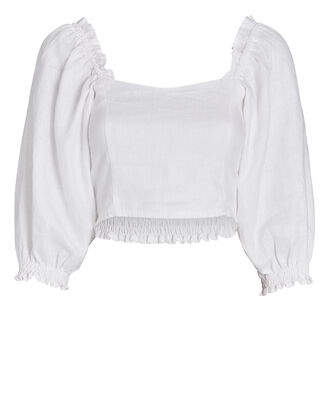 Pietra Smocked Linen Crop Top, , hi-res