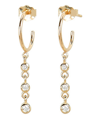 Diamond Drop Huggie Hoop Earrings, GOLD, hi-res