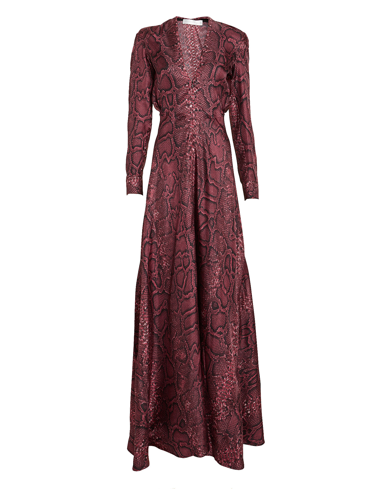 Snake Print Crepe Silk Gown, RED-DRK, hi-res