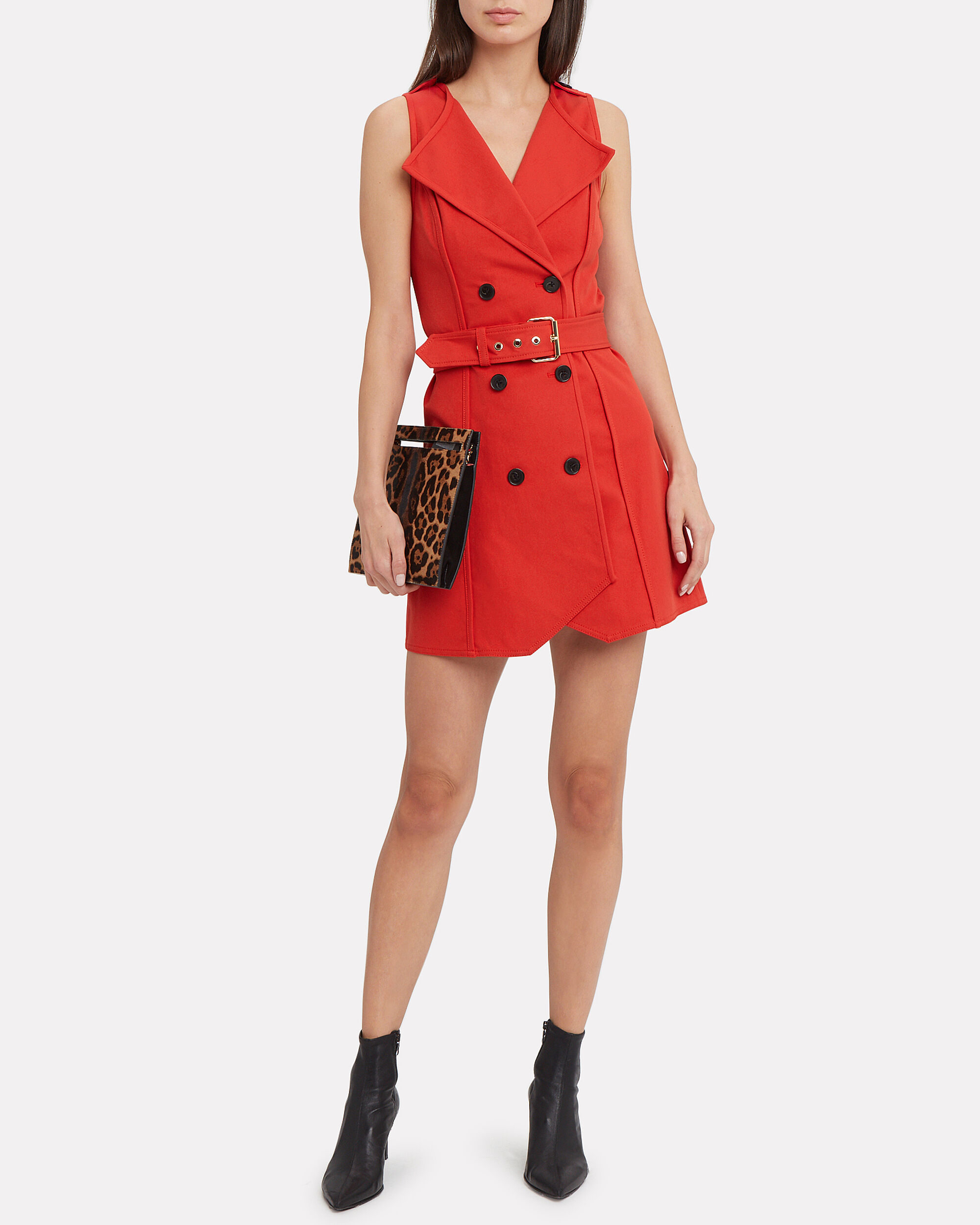 Red Belted Trench Dress, RED, hi-res