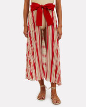 Blanche Pleated Pareo Skirt, RED, hi-res