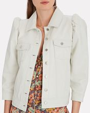 Ada Cropped Leather Jacket, WHITE, hi-res