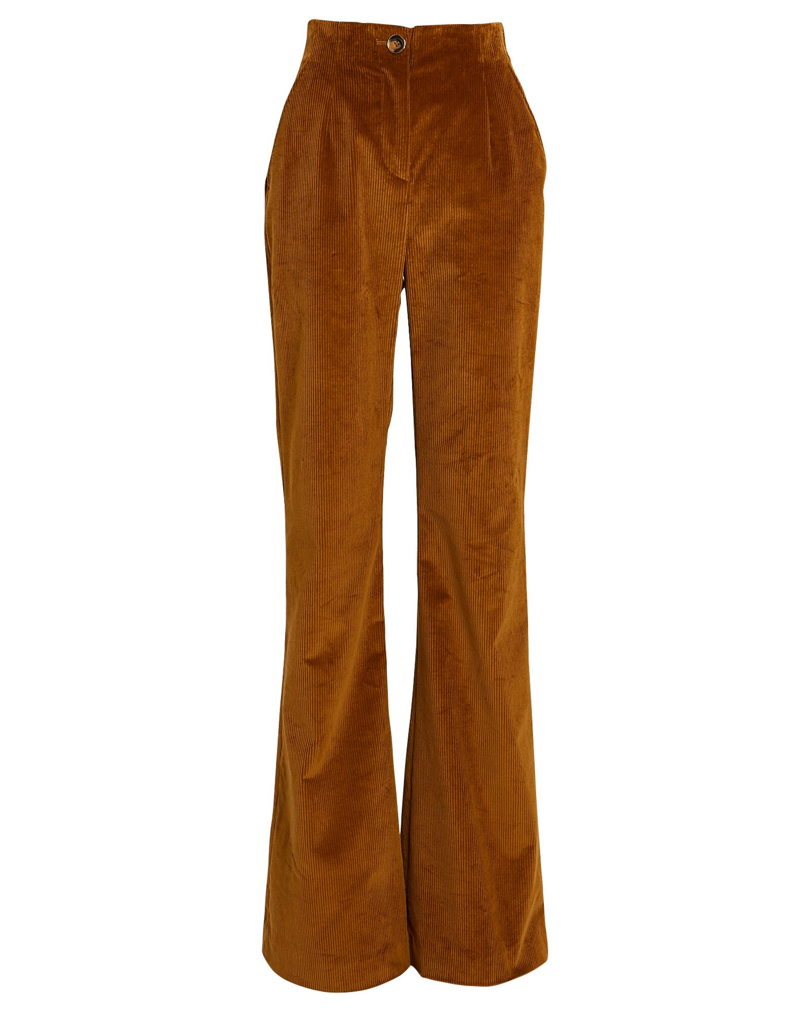 Basima Flared Corduroy Pants, YELLOW, hi-res