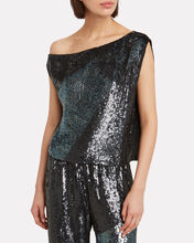 Michelle Off-The-Shoulder Sequin Top, BLACK, hi-res