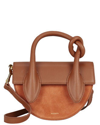 Delores Knotted Saddle Bag, BROWN, hi-res