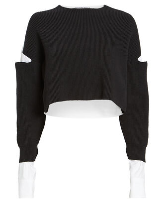 Bi-Layer Oxford Rib Knit Sweater, BLK/WHT, hi-res