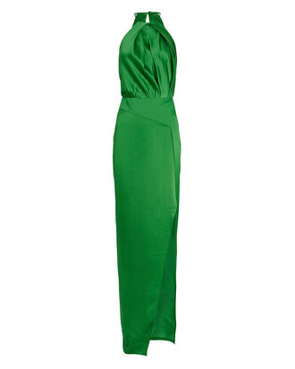 Pleated Silk Halter Gown, GREEN, hi-res
