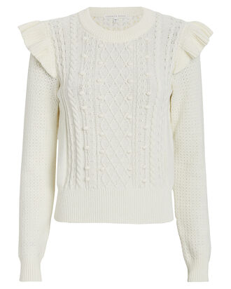 Earl Ruffled Cable Knit Sweater, IVORY, hi-res