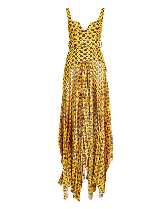 Junee Pleated Crepe Dress, YELLOW/PURPLE, hi-res