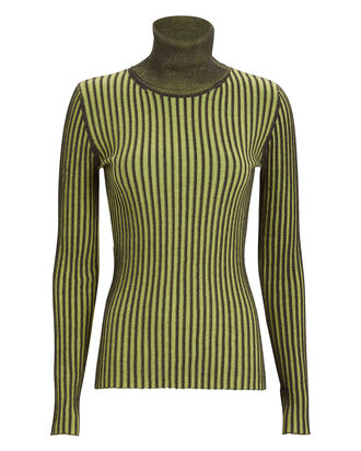 Striped Cotton Turtleneck Sweater, OCHRE/STRIPE, hi-res