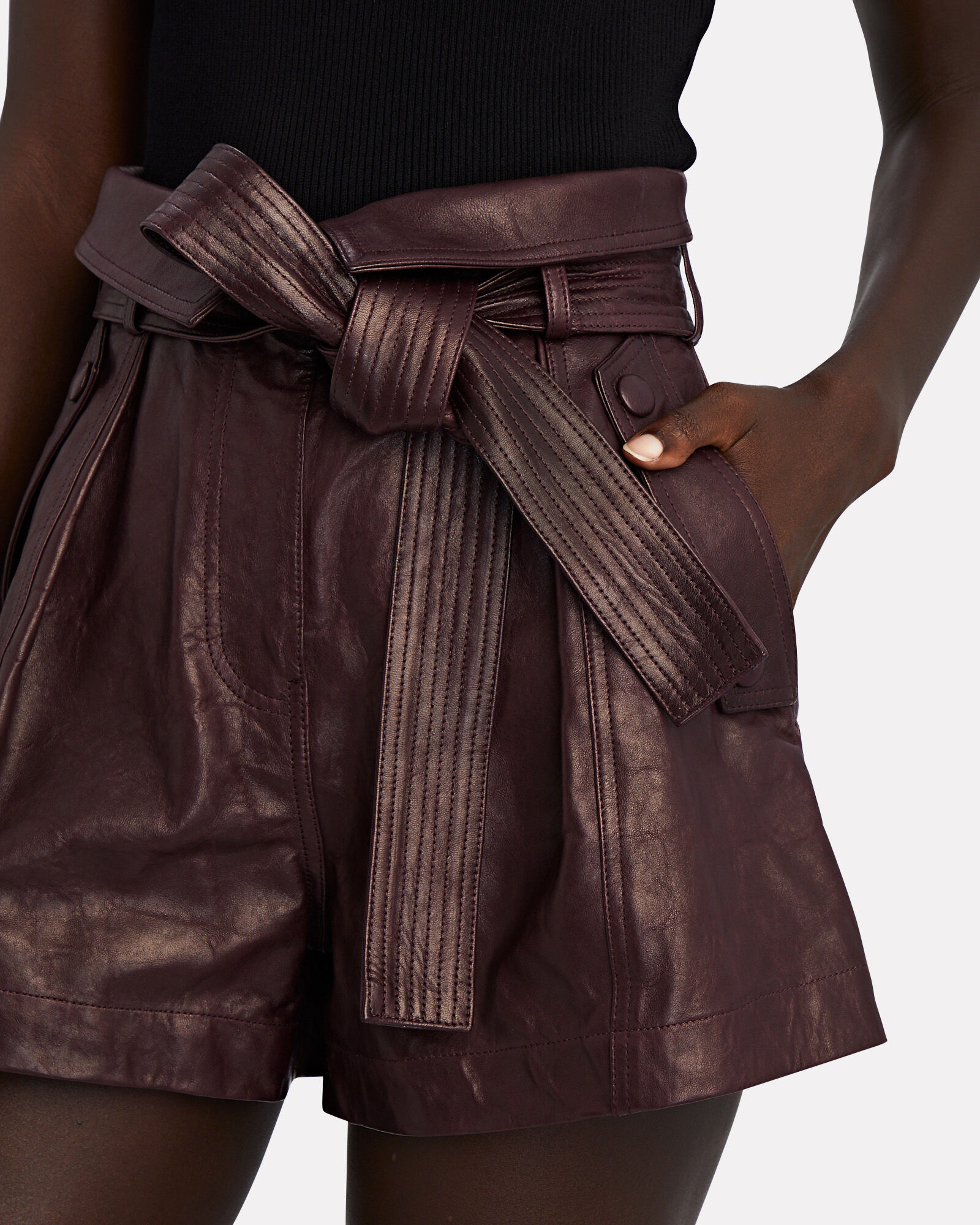 Othello Tie-Waist Leather Shorts, RED-DRK, hi-res