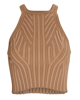 Cropped Rib Knit Tank Top, BEIGE, hi-res
