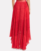 Deana Pleated High-Low Skirt, RED, hi-res