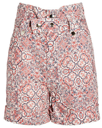 Clark Paisley Linen Shorts, RED/WHITE/BLUE, hi-res