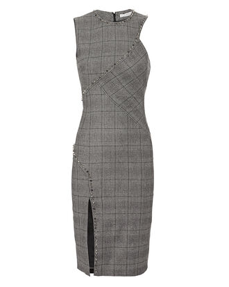 Studded Plaid Dress, GREY, hi-res