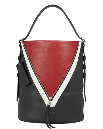 Biker Colorblocked Tote Bag, BLACK/RED, hi-res