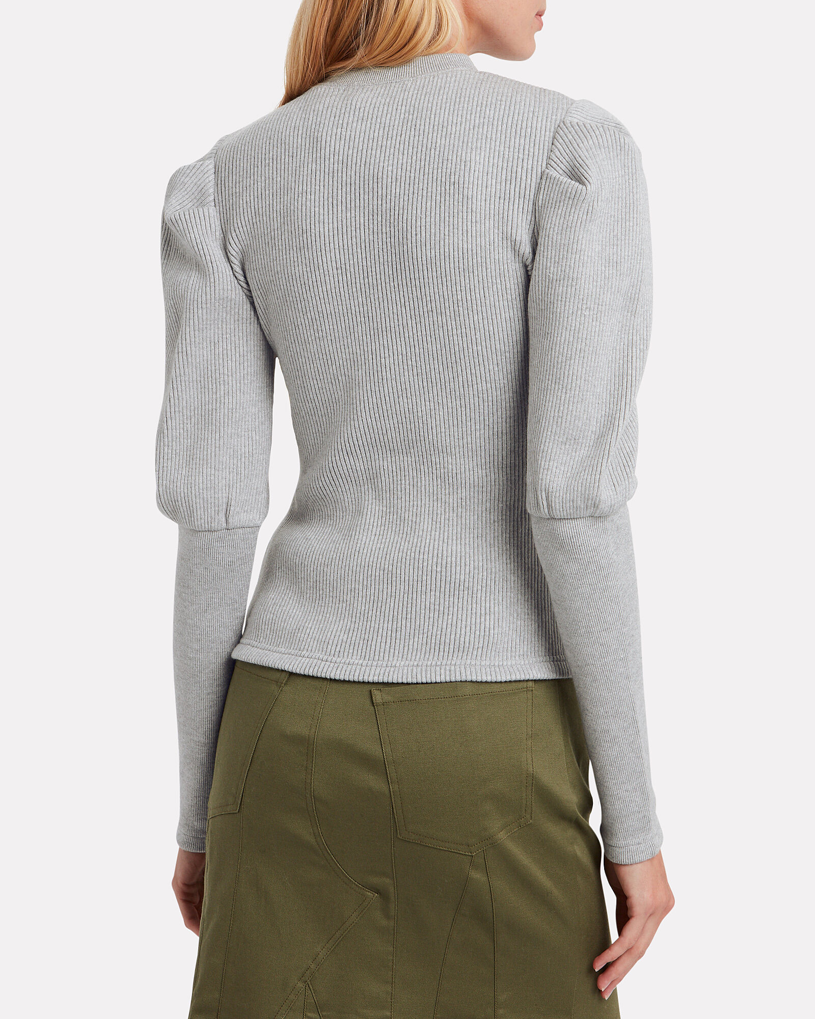 Directional Bishop Sleeve Sweater, GREY, hi-res