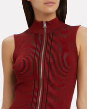 Zip Ribbed Mini Dress, RED-DRK, hi-res