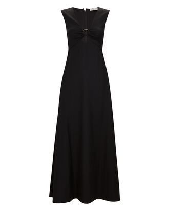Verner Wool Cut-Out Maxi Dress, BLACK, hi-res