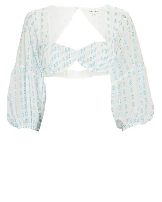 Ruthie Dotted Chiffon Crop Top, LIGHT BLUE/WHITE, hi-res