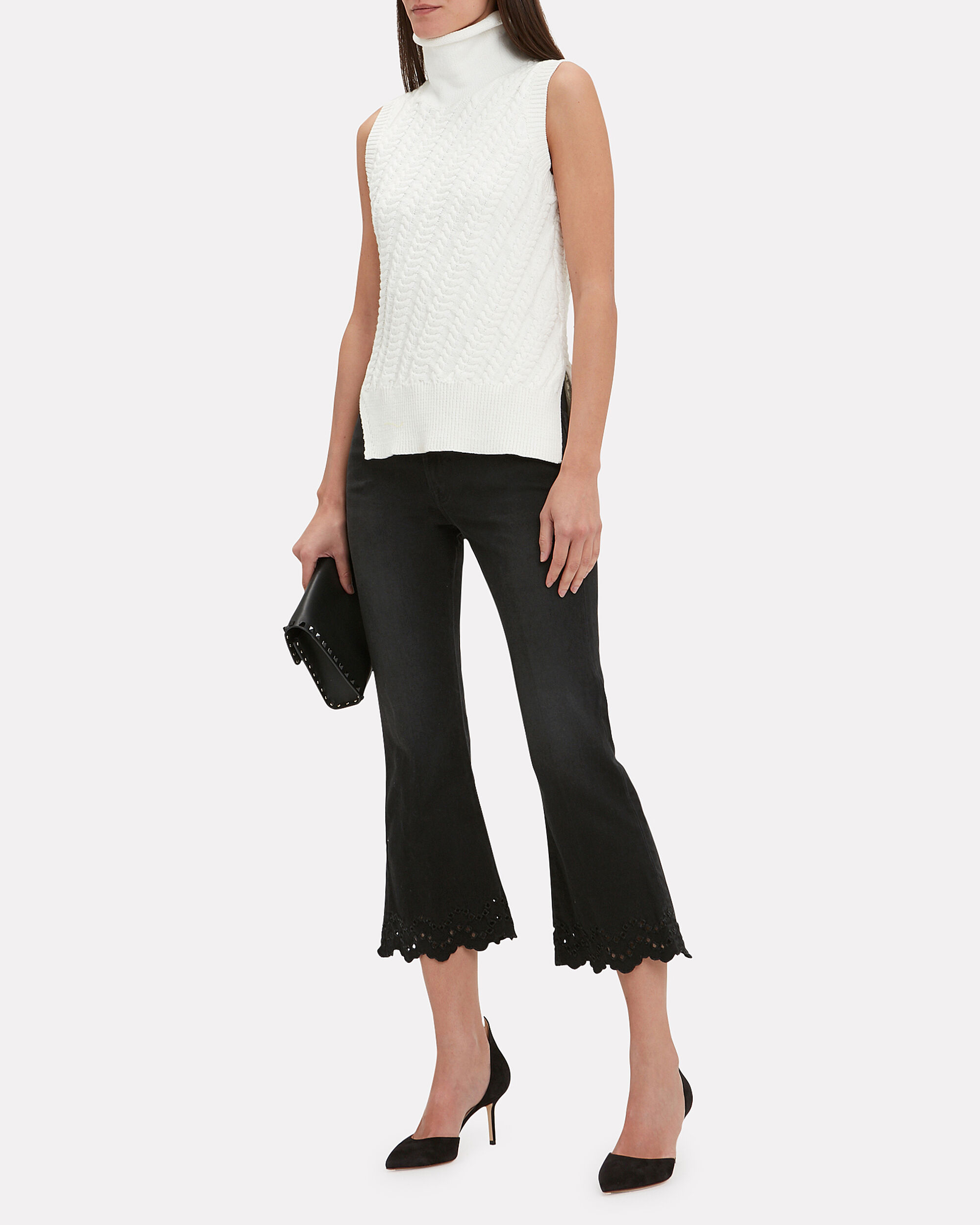 Schiffly Crop Flare Jeans, FADED BLACK DENIM, hi-res