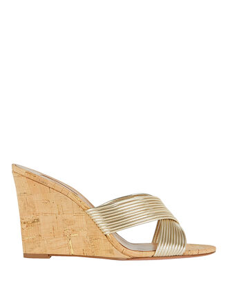 Perugia Cork Wedge Sandals, GOLD, hi-res