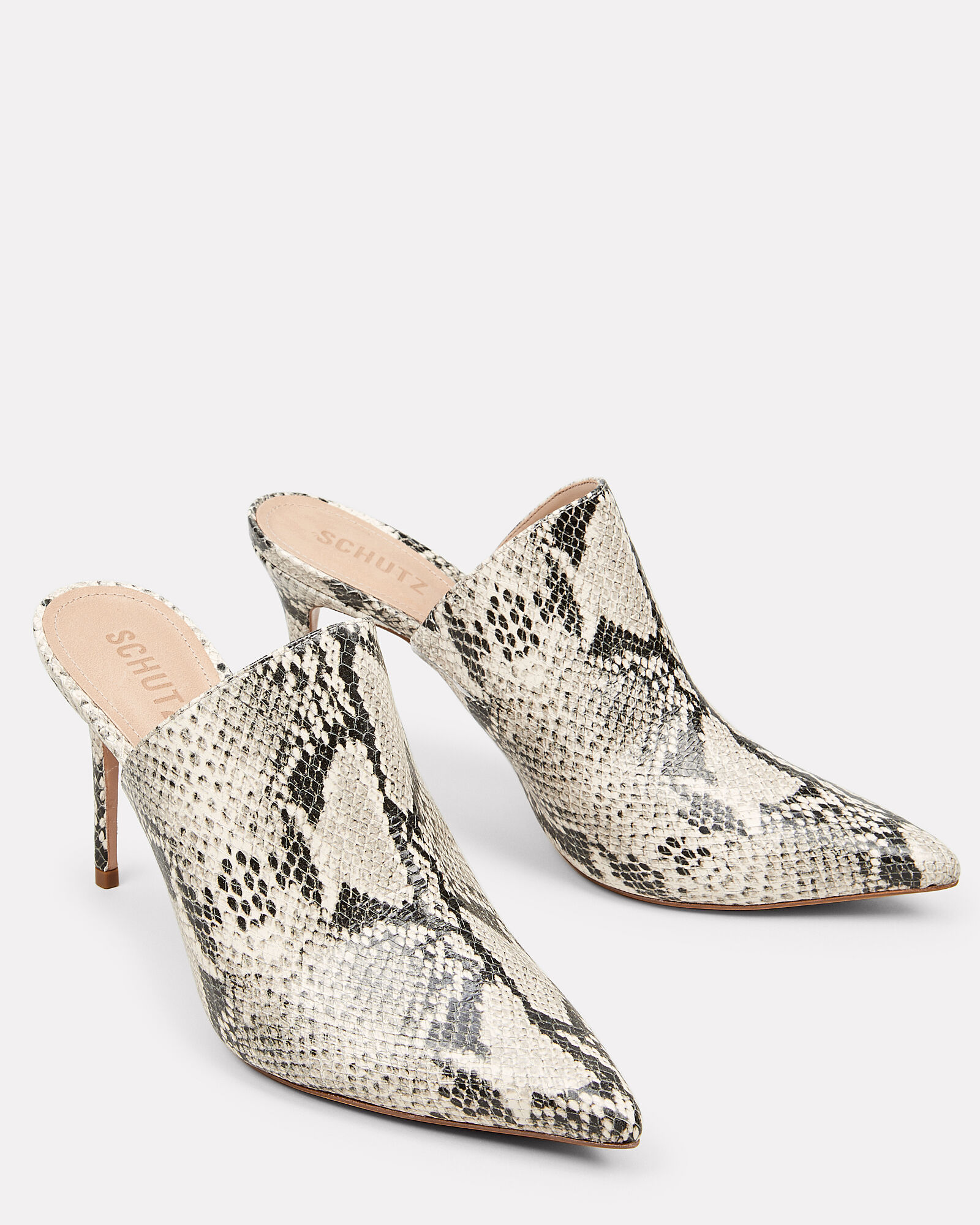 Bardot Snake Embossed Leather Mules, GREY, hi-res