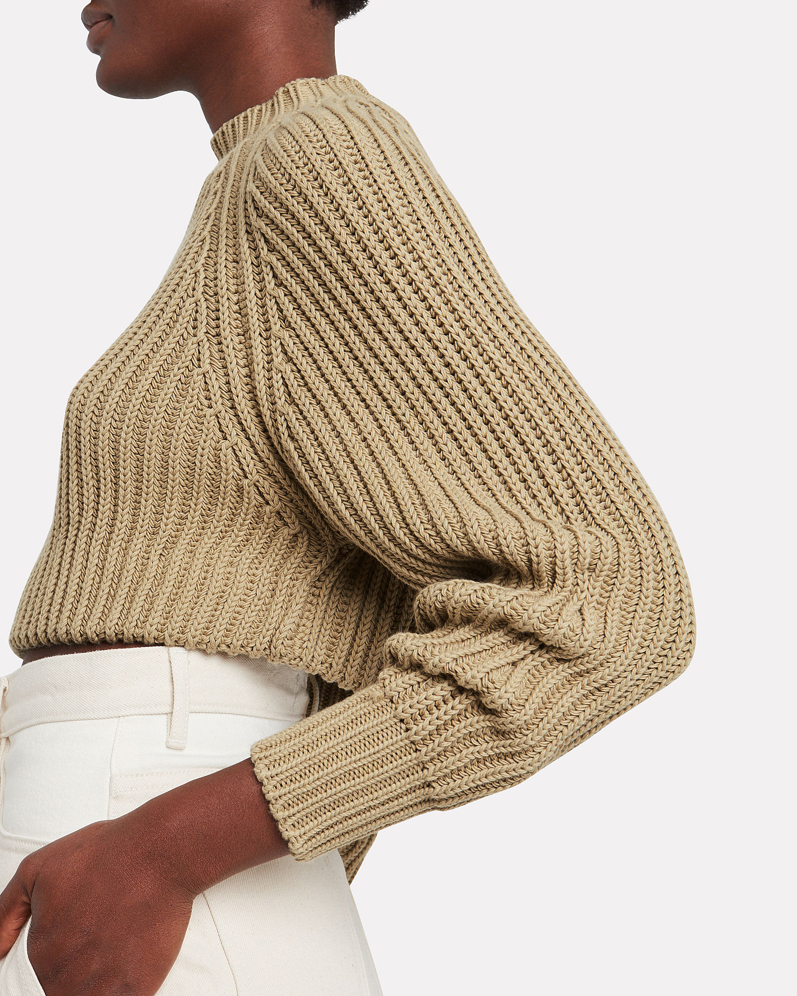 Cable Knit Cropped Sweater, OLIVE/ARMY, hi-res