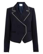 Double Piped Navy Blazer, NAVY, hi-res
