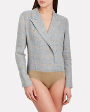 Checked Linen Blazer Bodysuit, GREY, hi-res