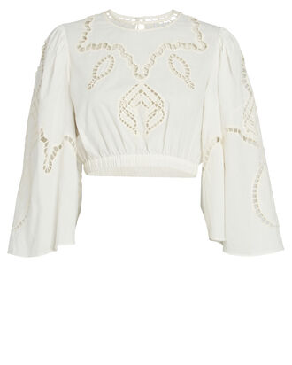 Casper Embroidered Crop Top, IVORY, hi-res
