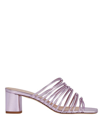 Pearl Strappy Leather Sandals, LIGHT PURPLE, hi-res