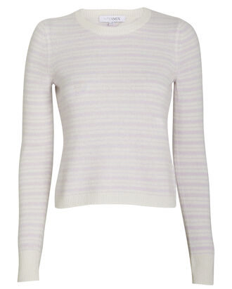 Noelle Striped Cashmere Sweater, PURPLE-LT, hi-res