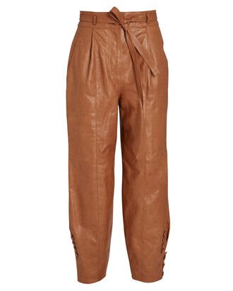 Navona Leather Trousers, BROWN, hi-res