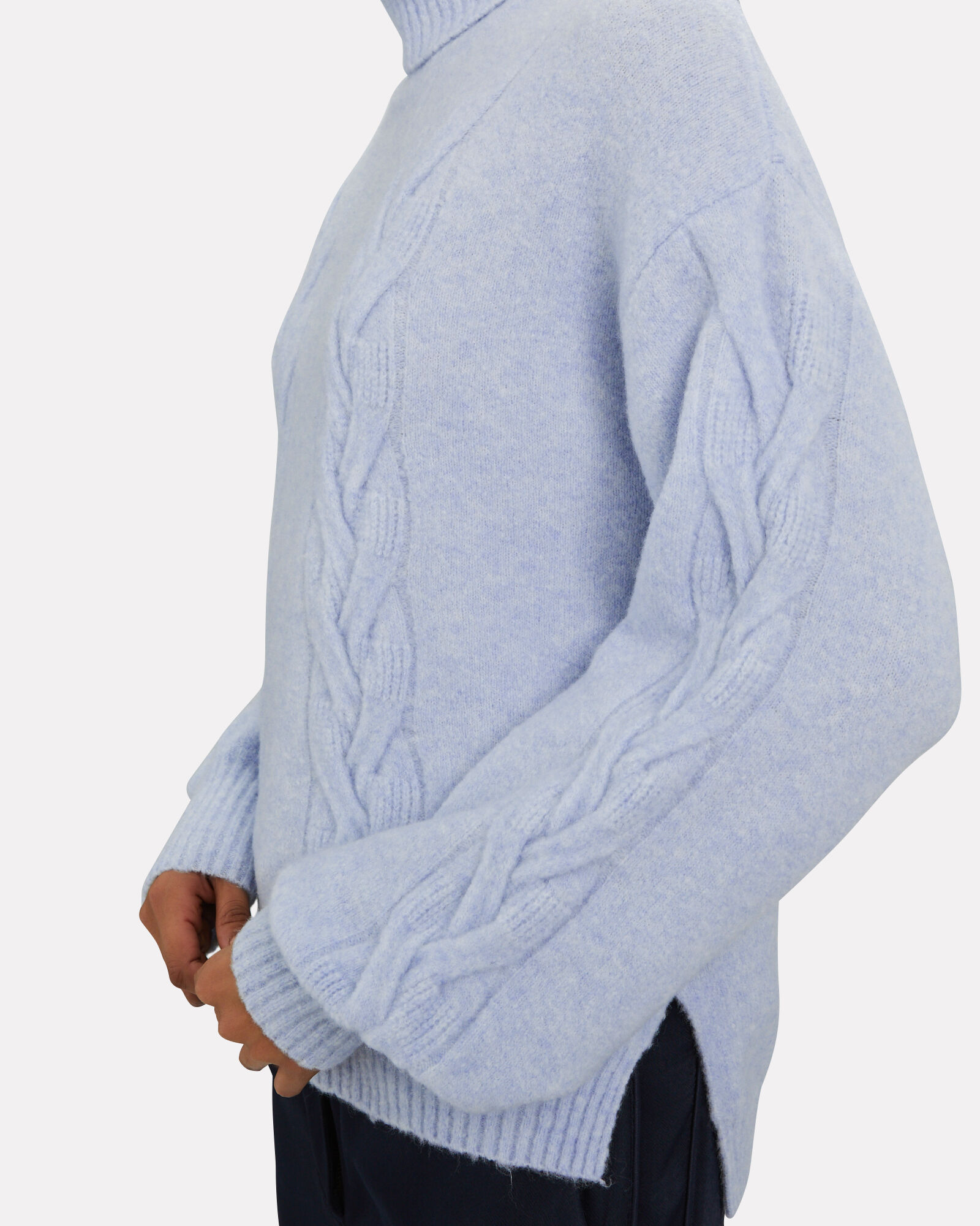 Chow Cable Knit Turtleneck Sweater, SKY BLUE, hi-res