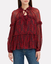 Gisele Printed Blouse, RED/FLORAL, hi-res